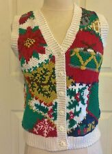 Womens Ashley Petites Size PS Ugly Tacky Christmas Sweater Vest Hand Knitted