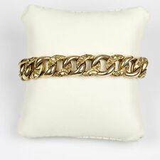 Antique Victorian 14K Gold Wide Heavy Curb Bracelet Chasing Special RARE EBSR01