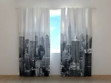Curtain with New York in Black and White Print Wellmira Ready Made 3D Bedroom