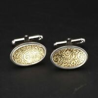 VTG Sterling Silver - B. A. BALLOU Two-Tone Ornate Filigree Men's Cufflinks - 7g