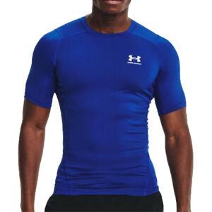 Under Armour Mens HeatGear Compression T Shirt Tee Top Blue Sports Running