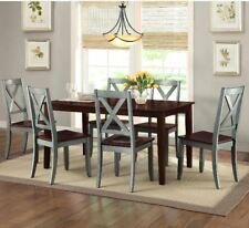 Rustic Dining Table Set Farmhouse Kitchen 7 Piece Chairs Solid Wood Veneer Blue