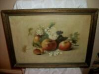 19th C. FRUIT STILL LIFE OIL PAINTING ART STUDY APPLES BLOSSOMS FRENCH FARMHOUSE