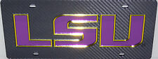 LSU TIGERS CARBON FIBER LOOK INLAID MIRRORED ACRYLIC AUTO LICENSE PLATE CAR TAG