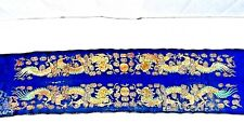 PAIR ANTIQUE 19c CHINESE 2 DRAGONS GOLD THREADS SILK EMBROIDERY SLEEVE PANELS