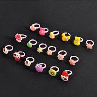 Wholesale 20Pcs Children Kids Chic Mixed Cute Cartoon Ring Resin Rings Jewelry