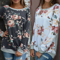 Womens Casual Floral Splicing O-Neck T-Shirt Blouse Sweatshirt Long Sleeve Tops