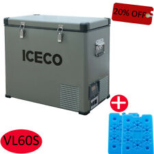 63Qt Electric Car Portable Freezer Fridge Camping Truck 12V Cooler With Ice Pack