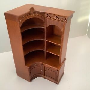 Dollhouse Miniatures Furniture JBM Corner Walnut Bookcase