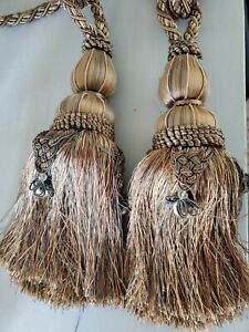 Gold Copper Green Beaded Tassel Fringe Pair Curtain Tie Back Large Rope