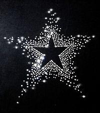 XL STRASSSTEINE STERN BÜGELBILD HOTFIX APPLIKATION STERNE STAR groß klar weiß