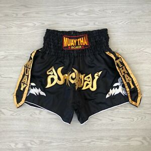 Muay Thai Boxing Shorts - Large L - Gym - Black - Box MMA