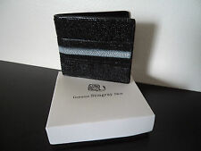 Real Genuine Stingray Skin Black Bi Fold Wallet Gift Boxed A