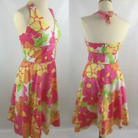 Lilly Pulitzer Women 2 Halter Dress Fit Flare Flower Floral Bright Pink Orange