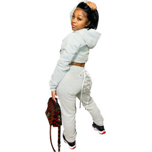 Women Long Sleeves Hooded Solid Casual Fleece Fashion Back Lace Up Pants Set 2pc