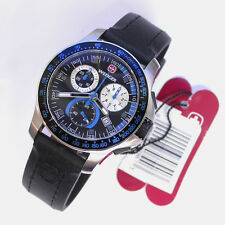 NEW $425 GENTS WENGER 41MM BLACK/BLUE SS BATTALION CHRONOGRAPH 100M WATCH #70790