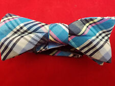 Hand-Made Men's Bow Tie, Pink, Gray & Blue Plaided, Pre-Tied, Size 14.5 to 20
