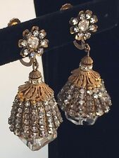 Rare Vintage Miriam Haskell Drop Earrings~Crystals/Rhinestone/Gilt Filigree~Sign