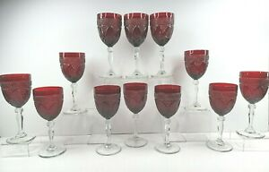 12 Cristal D'Arques Antique Ruby Water Goblets Set Elegant Barware Glass France