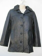 Fall Winter Texas Tanners Black Polyester Lined Leather Jacket Motorcycle Coat M