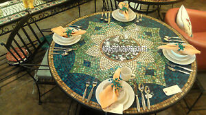 Marble Big Round Dining Table Top Mosaic Gemstone Inlay Design Patio Decor H3972