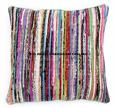 """24"""" Green Chindi Rag Rug Decor Pillow Cushion Cover Bohemian Indian Sham Throw"""