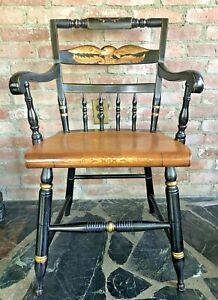 L.Hitchcock~SIGNED 1960-80s STENCILED EAGLE BACK,HARVEST PLANK SEAT ARM CHAIR ~1