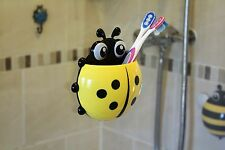 Cute LadyBug Toothbrush & Toothpaste Holder for Kids & Family - Yellow