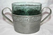 Vintage Vaga Norsk Tinn Pewter Cachepot Signed BJH 260 with Original Glass Liner