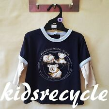 Baby BOYS Kids NAVY/BEIGE Long Sleeve Tee TOP T-Shirt  w Bear Detail SIZE 0 NWOT
