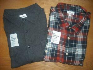 Mens NWT Flannel Shirts SET of 2 BIG TALL Navy Copper Gray Plaids SONOMA Sz:2XL