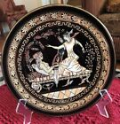 Vintage 24 k gold decorative Hand Painted Black (EPMAS )Plate From Greece