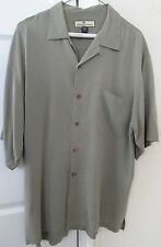 Tommy Bahama 100% Silk Mens Short Sleeve Button Front Shirt Lt Olive Green Mediu