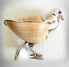 Binazzi art sculpture Sparrow with Anfora shell and silver accents- FREE SHIP