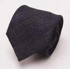 New $235 BATTISTI NAPOLI Charcoal Gray Woven Wool-Silk Tie Handmade