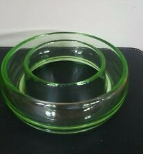 Art Deco Green Uranium Glass Posy Ring Vase