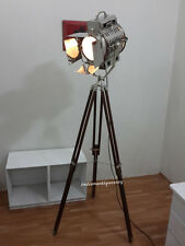 Hollywood Big Nautical Searchlight Floor Lamp Theater Spot Light & Wooden Tripod