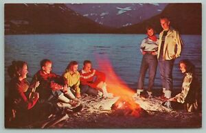 Glacier Nat'l Park Montana~Campfire At Switchcurrent Lake~Vintage Postcard