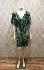 Muse Dress 6 M Medium Knee Length Green Multi Dolman Sleeve Pockets NWT