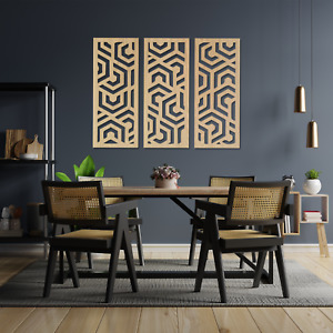 065 Modern Abstract Art 3 Panels Wooden MDF Wall Hanging Art Decor Oak Ash Gift