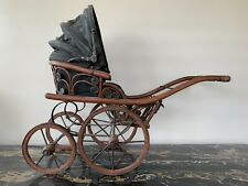 ANTIQUE Vintage BABY DOLL Carriage Buggy Stroller, Black canvas, Woodmetalwheels
