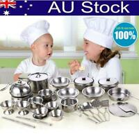 Kids Play House Kitchen Toys Pretend Stainless Steel Pots Pans Cooking Cookware