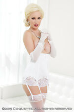 White Bridal Corset Waist Cincher Coquette Bustier Suspender Sizes 8 to 24 14-16