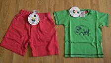 BNWT 100% organic cotton boy 6-12 (6 9 12) outfit shorts t shirt red green