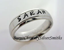 Custom Hand Stamped S/Steel Personalized Name Ring Hand Made 6mm  BCSS-M0021