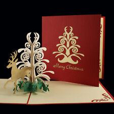 POP UP 3D card - glamorous Christmas tree & stag deer