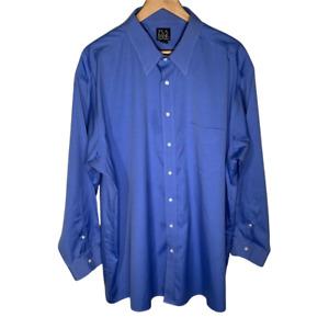Jos A Bank Mens Dress Shirt Size 18 Travelers Collection Long Sleeve Blue Cotton