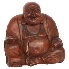 20cm Happy Buddha Wooden Smiling Budda figure Brown Charm CRACKS SEE PHOTO