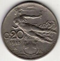 1913 R  ITALY TWENTY 20 CENTESIMI  NICE WORLD COIN