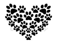 """DOG PAW HEART"" Prints Love 8.5"" x 11"" Stencil Plastic Sheet NEW S22"